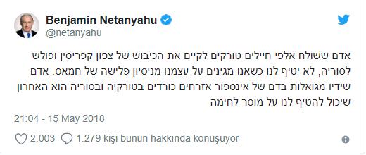 """Ərdoğanın """"əli fələstinlilərin qanına batıb"""" sözünə Netanyahudan sərt cavab - FOTO"""