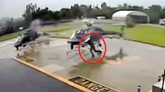 Pilot manevr edən helikopterə belə çırpıldı - VİDEO