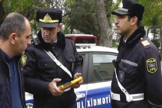 Yol polisi sürücünü təhdid etdi – VİDEO