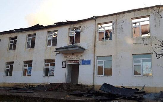 Məktəb yandı, şagirdlər təxliyyə edildi - FOTO