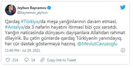 Ceyhun Bayramovdan Mövlud Çavuşoğluna başsağlığı mesajı – FOTO
