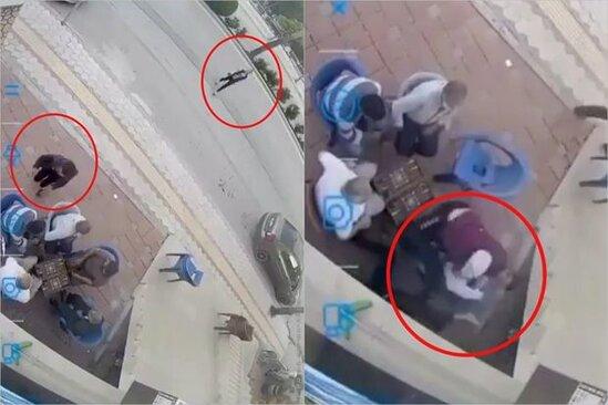 Turkiyede dehshet: Qadina baltali hucuma oturduqlari yerden tamasha etdiler - VİDEO