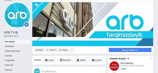 """Azərbaycanda İLK: """"Facebook"""" ARB telekanalının rəsmi səhifəsini təsdiqlədi - FOTO"""