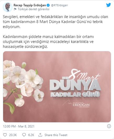 ərdogandan 8 Mart Təbriki Foto Qanun Və Hədəf