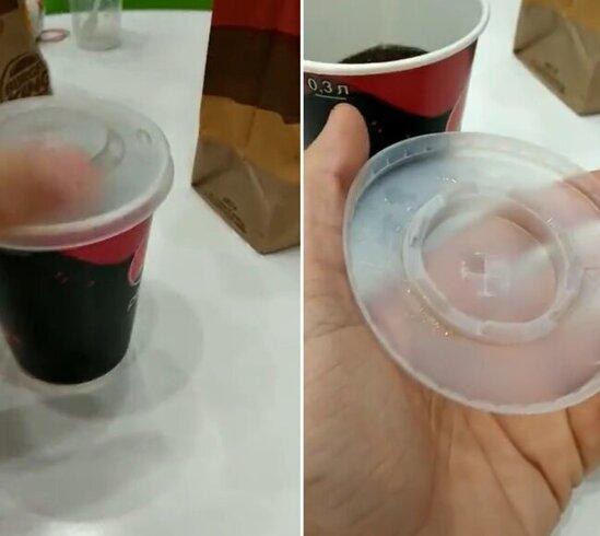 """McDonald's""daki stekanlarin qapagindan gorun nece istifade etdi - FOTO"